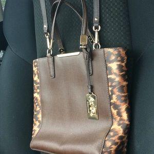 EUC COACH Brown and Leopard purse